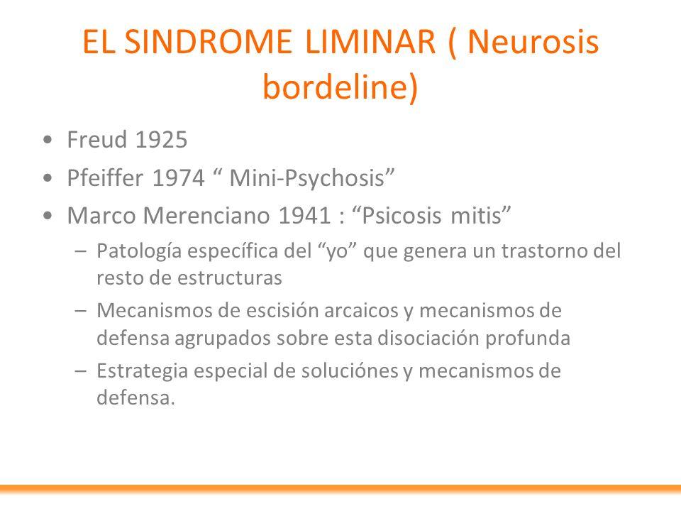 EL SINDROME LIMINAR ( Neurosis bordeline) Freud 1925 Pfeiffer 1974 Mini-Psychosis Marco Merenciano 1941 : Psicosis mitis –Patología específica del yo