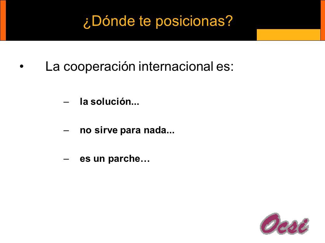 ¿Dónde te posicionas. La cooperación internacional es: –la solución...