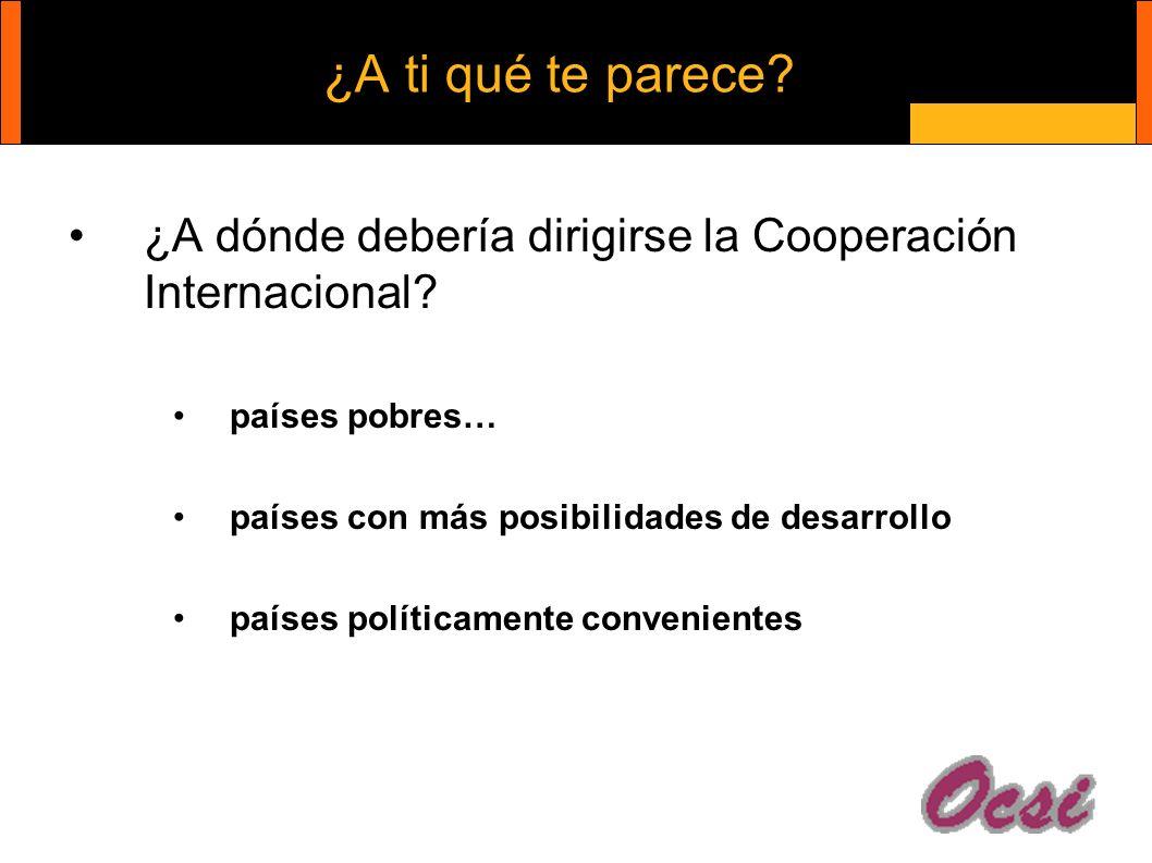¿A ti qué te parece. ¿A dónde debería dirigirse la Cooperación Internacional.