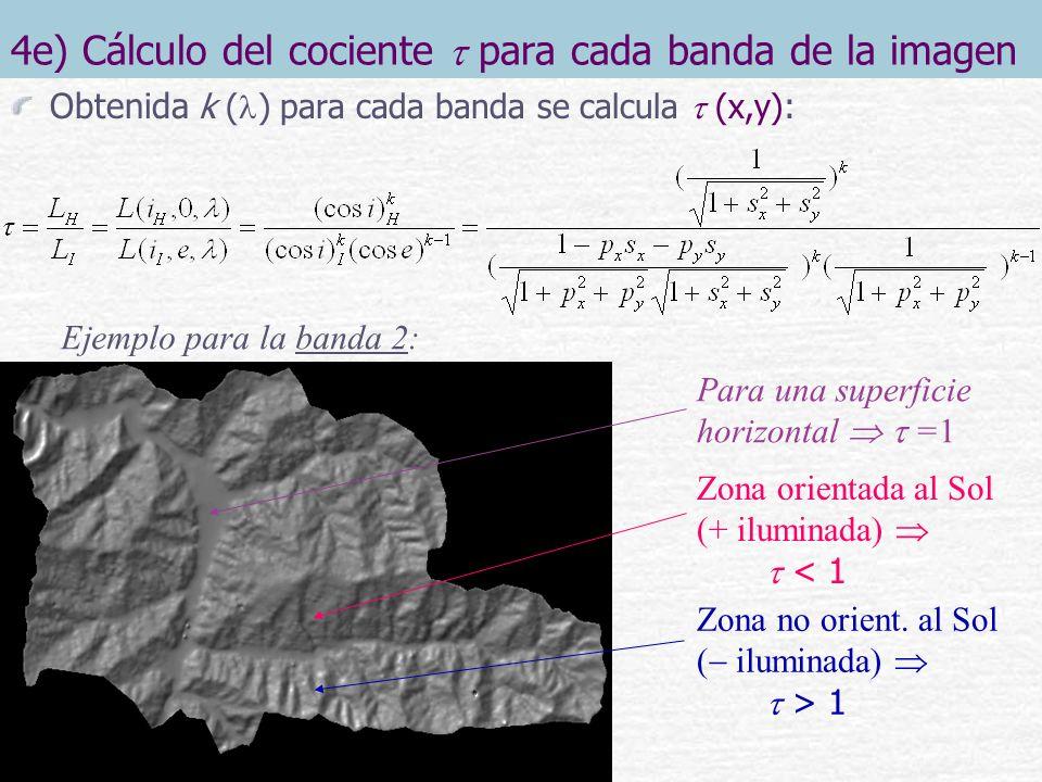 4f) Corrección topográfica de cada banda de la imagen Obtenido (x,y) para cada banda, cada una se corrige según : ND corregido = ND observado Ejemplo para la banda 5: Se homogeneiza el valor de ND entre las zonas más y menos iluminadas, aplanando la superficie: ND(+ ) y ND( ) Antes de la corrección: Después de la corrección: