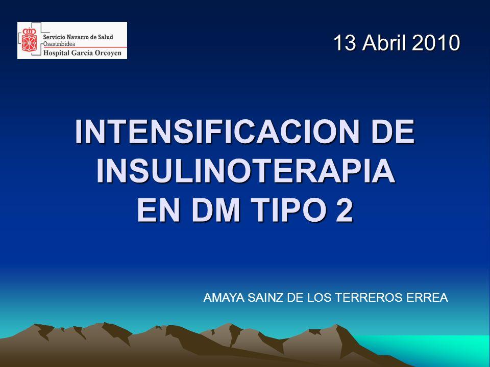 INTENSIFICACION DE INSULINOTERAPIA EN DM TIPO 2 13 Abril 2010 AMAYA SAINZ DE LOS TERREROS ERREA