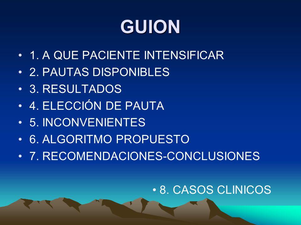 GUION 1. A QUE PACIENTE INTENSIFICAR 2. PAUTAS DISPONIBLES 3. RESULTADOS 4. ELECCIÓN DE PAUTA 5. INCONVENIENTES 6. ALGORITMO PROPUESTO 7. RECOMENDACIO