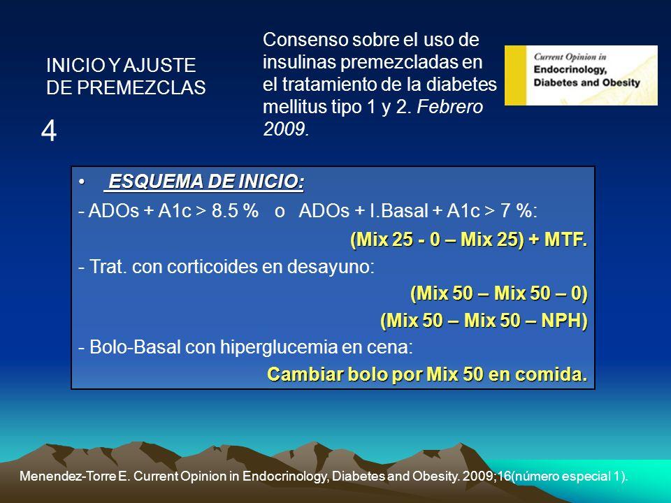 Menendez-Torre E. Current Opinion in Endocrinology, Diabetes and Obesity. 2009;16(número especial 1). Consenso sobre el uso de insulinas premezcladas