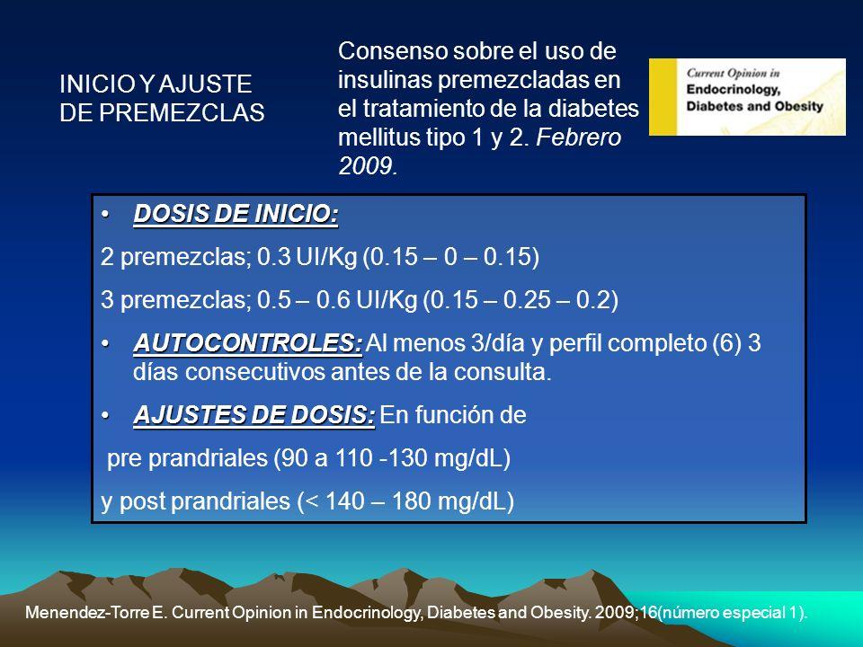 INICIO Y AJUSTE DE PREMEZCLAS Menendez-Torre E. Current Opinion in Endocrinology, Diabetes and Obesity. 2009;16(número especial 1). Consenso sobre el