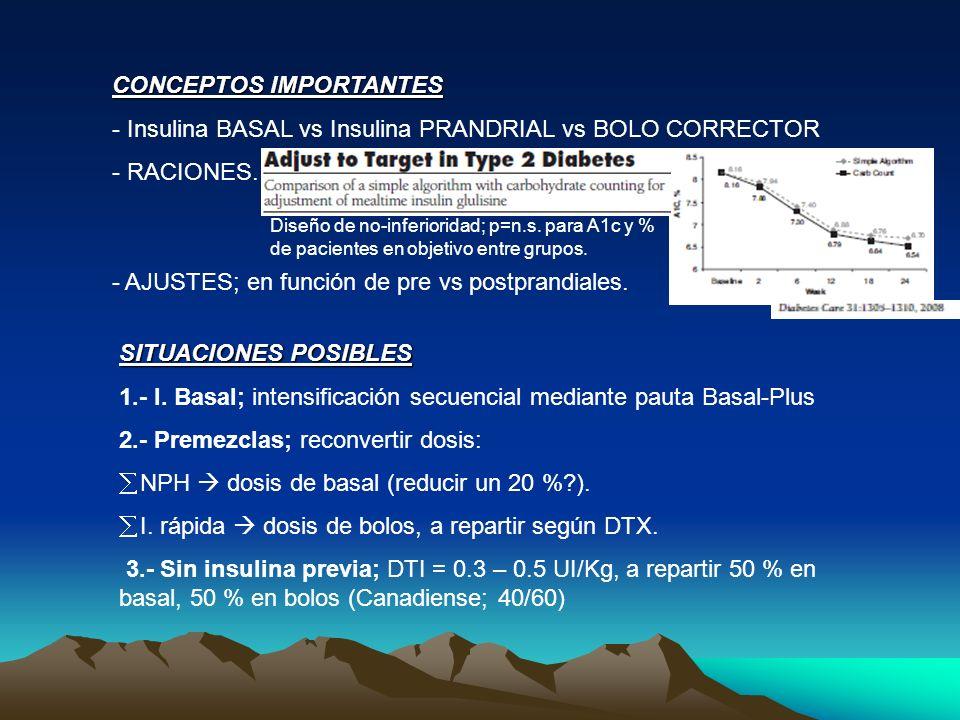 CONCEPTOS IMPORTANTES - Insulina BASAL vs Insulina PRANDRIAL vs BOLO CORRECTOR - RACIONES. - AJUSTES; en función de pre vs postprandiales. SITUACIONES
