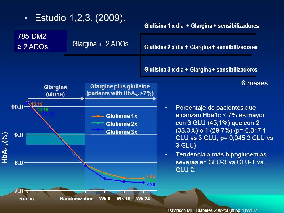 6 meses 785 DM2 2 ADOs Glulisina 1 x dia + Glargina + sensibilizadores Glargina + 2 ADOs Glulisina 2 x dia + Glargina + sensibilizadores Glulisina 3 x
