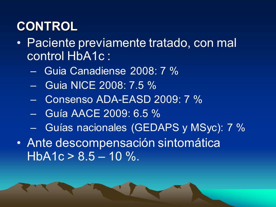 CONTROL Paciente previamente tratado, con mal control HbA1c : –Guia Canadiense 2008: 7 % – Guia NICE 2008: 7.5 % – Consenso ADA-EASD 2009: 7 % – Guía