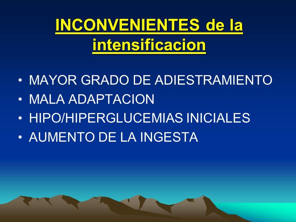 INCONVENIENTES de la intensificacion MAYOR GRADO DE ADIESTRAMIENTO MALA ADAPTACION HIPO/HIPERGLUCEMIAS INICIALES AUMENTO DE LA INGESTA