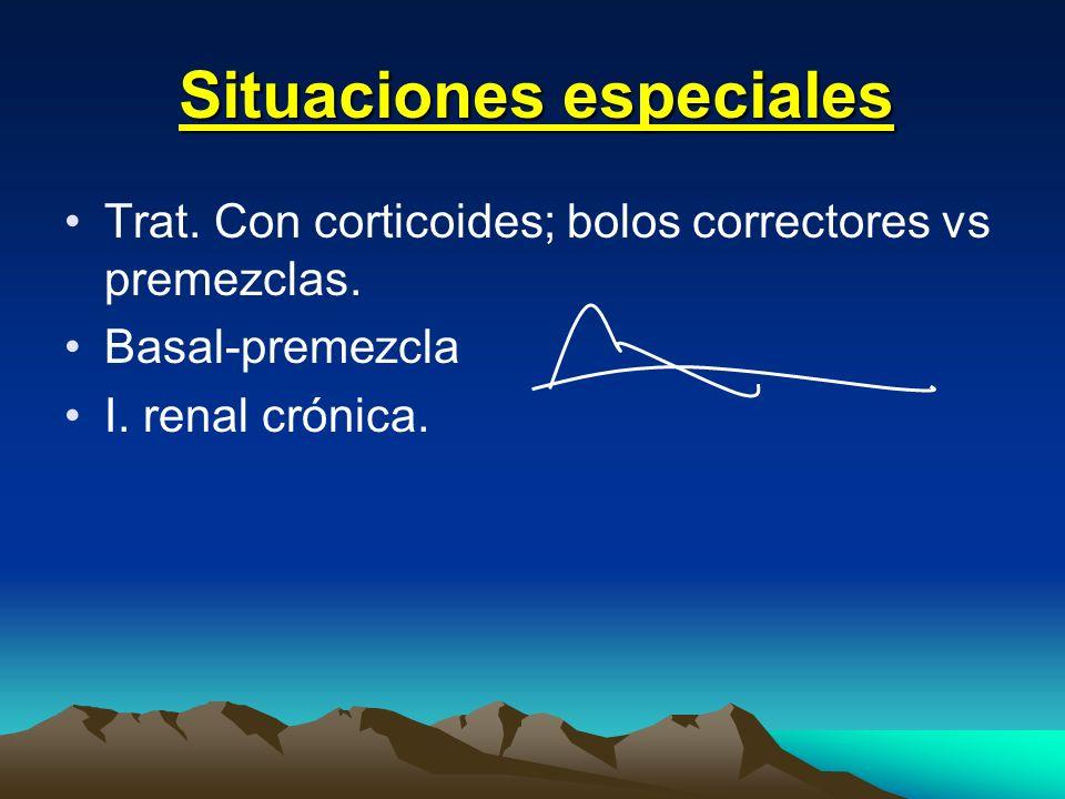 Situaciones especiales Trat. Con corticoides; bolos correctores vs premezclas. Basal-premezcla I. renal crónica.