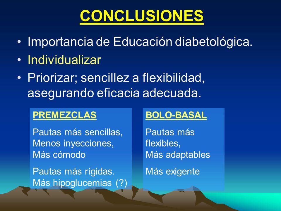 CONCLUSIONES Importancia de Educación diabetológica. Individualizar Priorizar; sencillez a flexibilidad, asegurando eficacia adecuada. PREMEZCLAS Paut