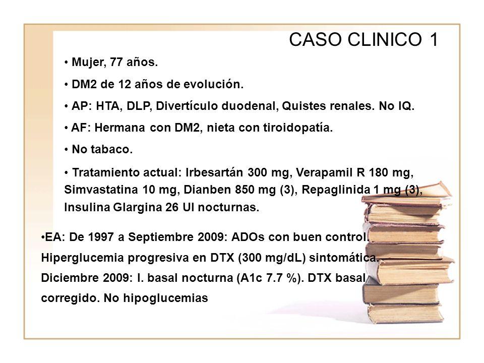 WWWW CASO CLINICO 1 Mujer, 77 años. DM2 de 12 años de evolución. AP: HTA, DLP, Divertículo duodenal, Quistes renales. No IQ. AF: Hermana con DM2, niet