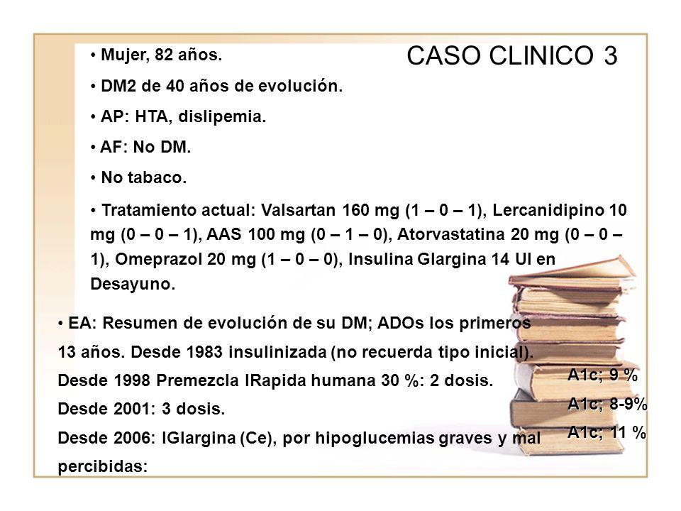 WWWW CASO CLINICO 3 Mujer, 82 años. DM2 de 40 años de evolución. AP: HTA, dislipemia. AF: No DM. No tabaco. Tratamiento actual: Valsartan 160 mg (1 –