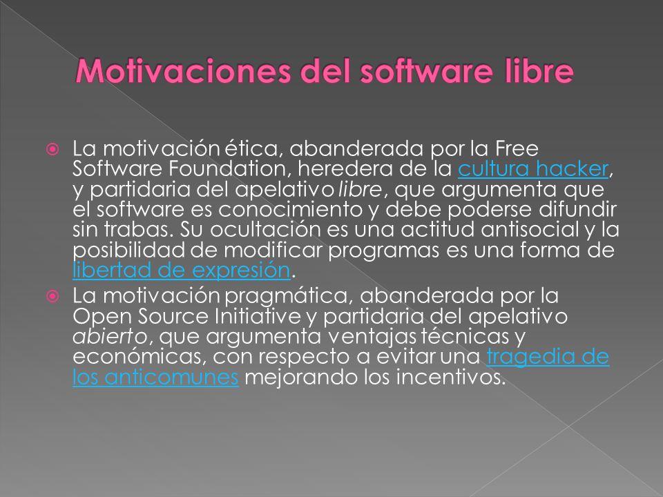 La motivación ética, abanderada por la Free Software Foundation, heredera de la cultura hacker, y partidaria del apelativo libre, que argumenta que el software es conocimiento y debe poderse difundir sin trabas.