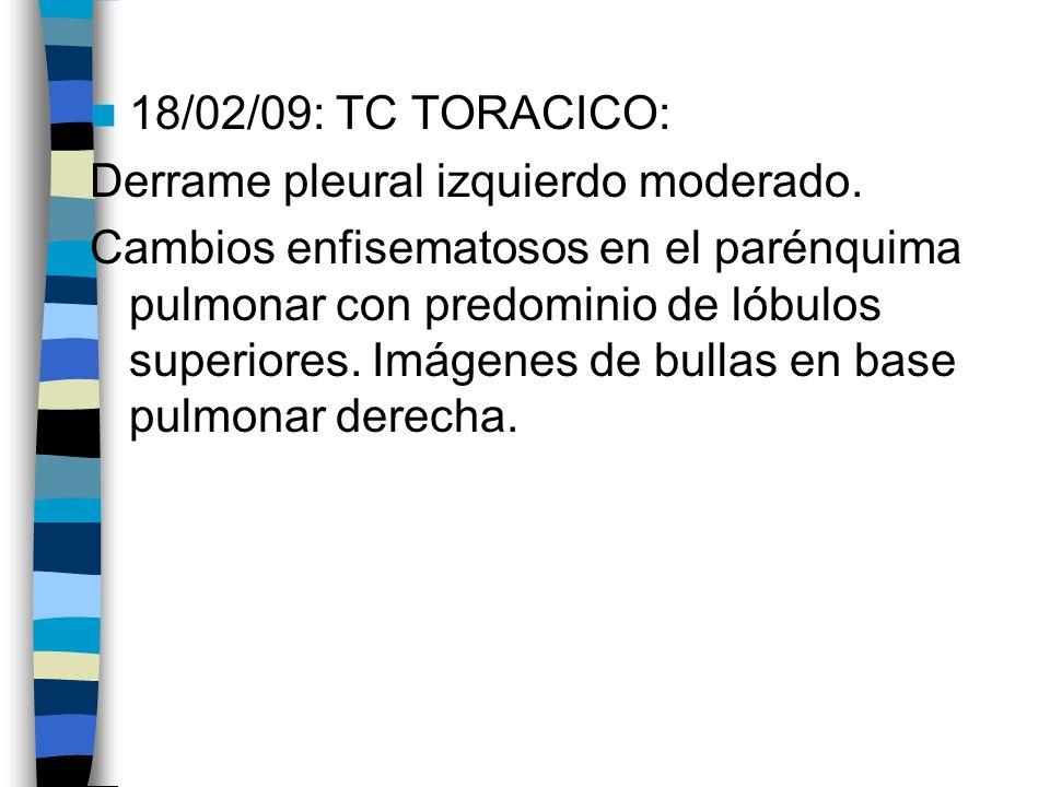18/02/09: TC TORACICO: Derrame pleural izquierdo moderado. Cambios enfisematosos en el parénquima pulmonar con predominio de lóbulos superiores. Imáge