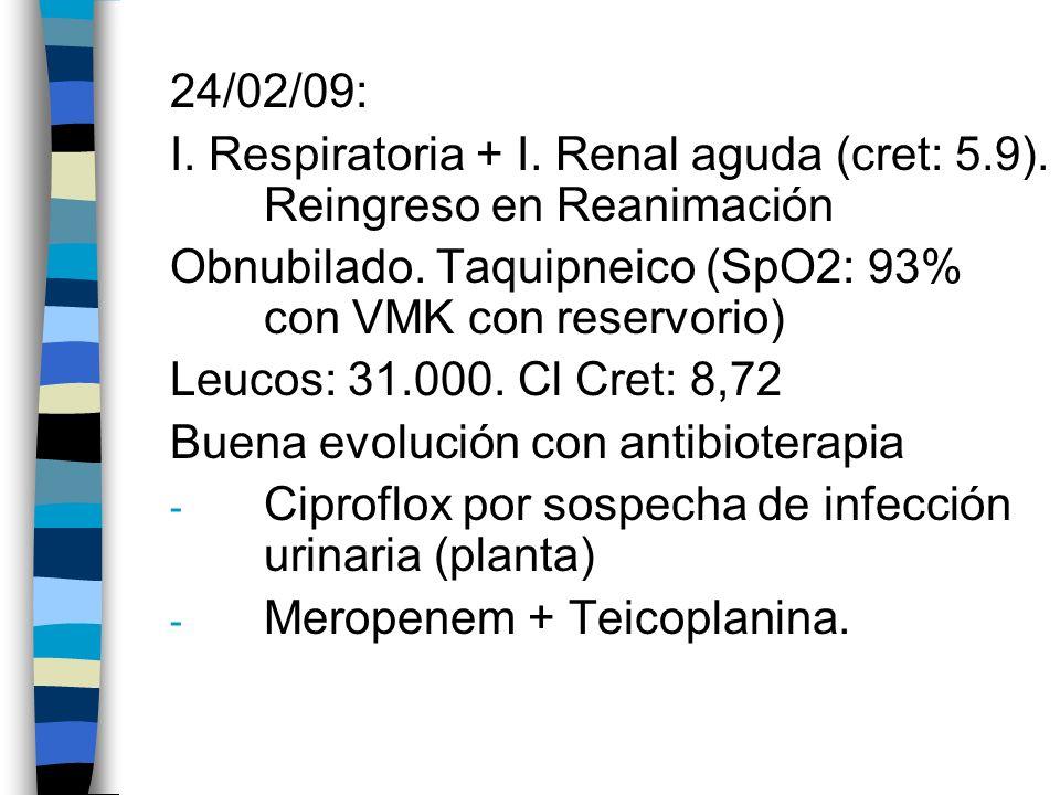 24/02/09: I. Respiratoria + I. Renal aguda (cret: 5.9). Reingreso en Reanimación Obnubilado. Taquipneico (SpO2: 93% con VMK con reservorio) Leucos: 31