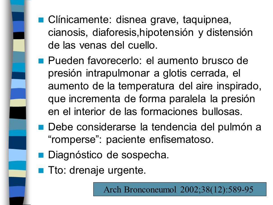 Clínicamente: disnea grave, taquipnea, cianosis, diaforesis,hipotensión y distensión de las venas del cuello. Pueden favorecerlo: el aumento brusco de