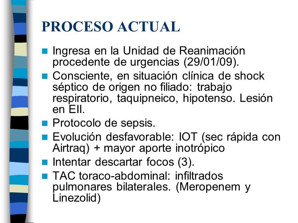 PROCESO ACTUAL Ingresa en la Unidad de Reanimación procedente de urgencias (29/01/09). Consciente, en situación clínica de shock séptico de origen no