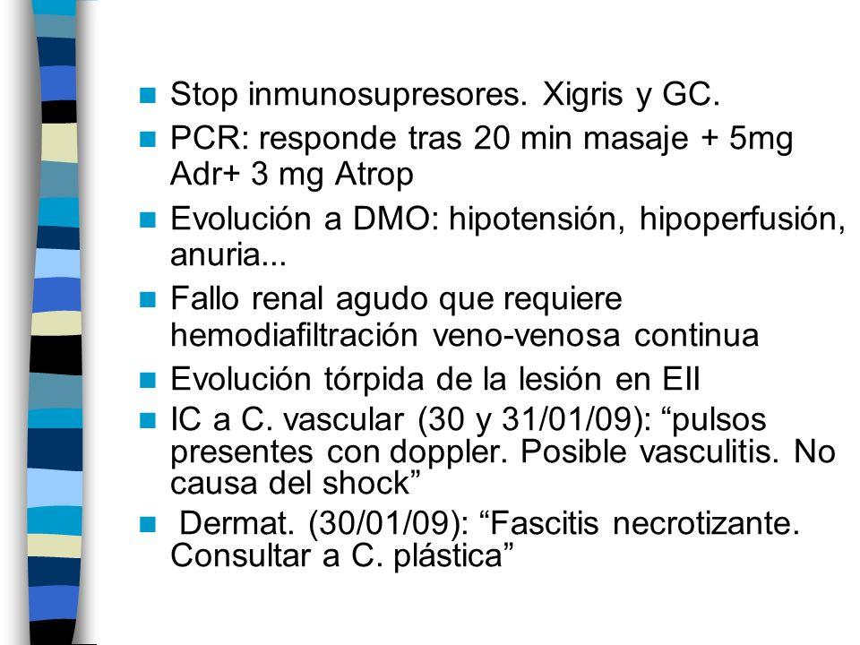 Stop inmunosupresores. Xigris y GC. PCR: responde tras 20 min masaje + 5mg Adr+ 3 mg Atrop Evolución a DMO: hipotensión, hipoperfusión, anuria... Fall