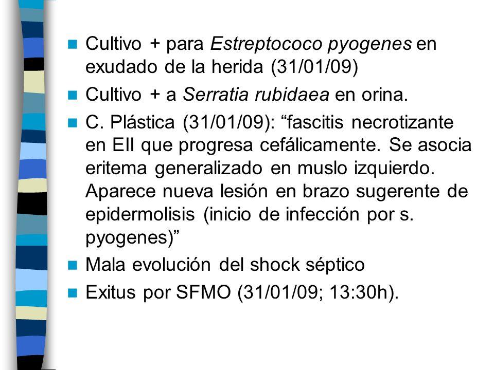 Cultivo + para Estreptococo pyogenes en exudado de la herida (31/01/09) Cultivo + a Serratia rubidaea en orina. C. Plástica (31/01/09): fascitis necro