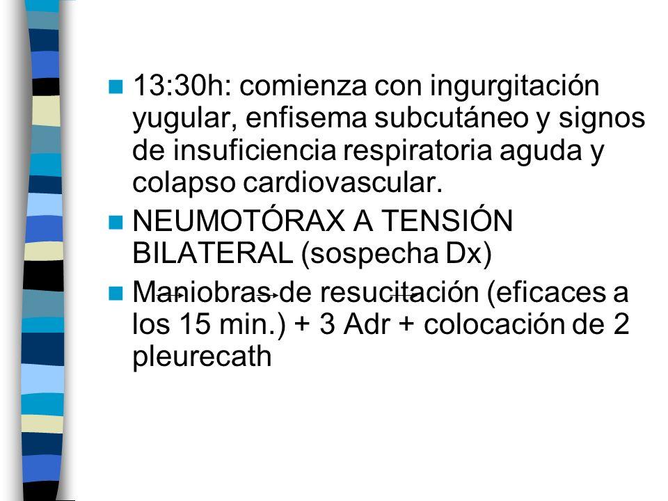 13:30h: comienza con ingurgitación yugular, enfisema subcutáneo y signos de insuficiencia respiratoria aguda y colapso cardiovascular. NEUMOTÓRAX A TE