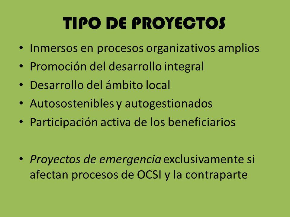 TIPO DE PROYECTOS Inmersos en procesos organizativos amplios Promoción del desarrollo integral Desarrollo del ámbito local Autosostenibles y autogestionados Participación activa de los beneficiarios Proyectos de emergencia exclusivamente si afectan procesos de OCSI y la contraparte