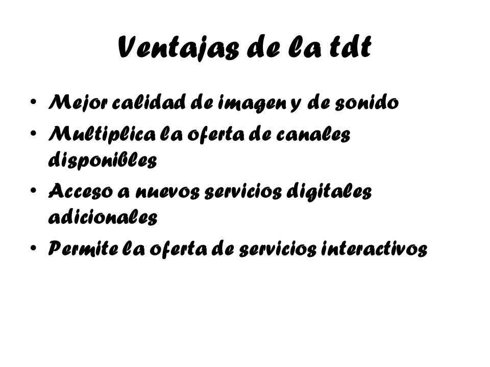 Ventajas de la tdt Mejor calidad de imagen y de sonido Multiplica la oferta de canales disponibles Acceso a nuevos servicios digitales adicionales Per