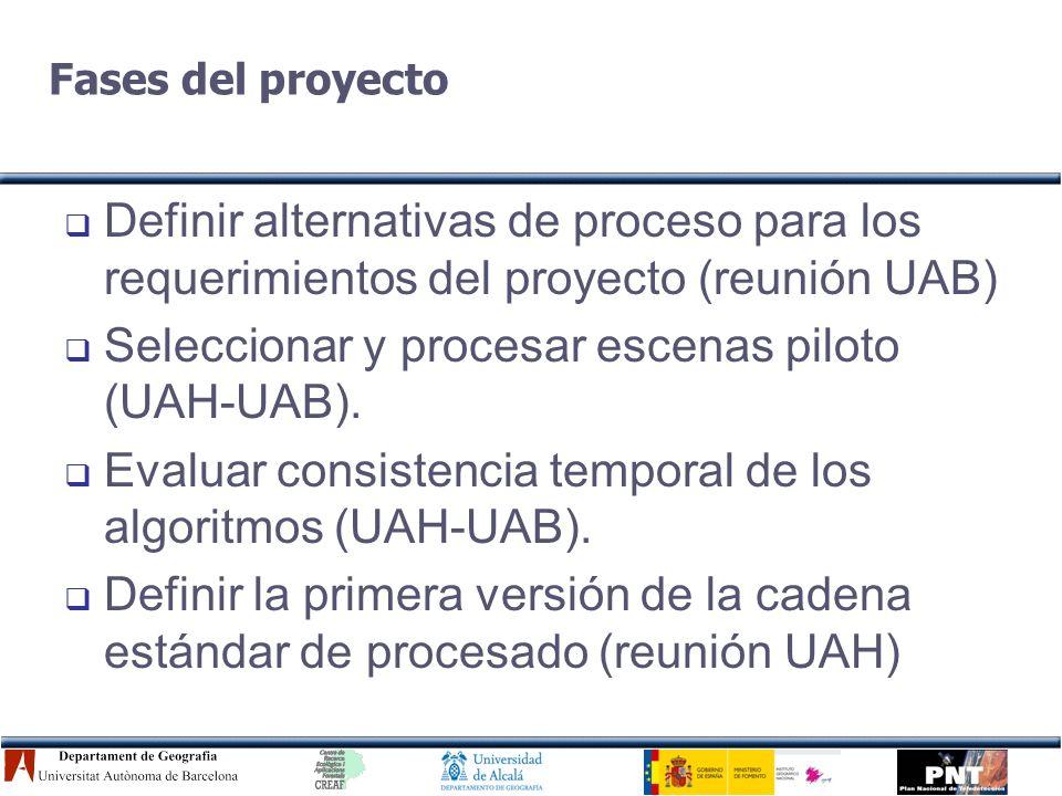 Definición de alternativas Se preparó un borrador UAB-UAH, previo a la reunión.