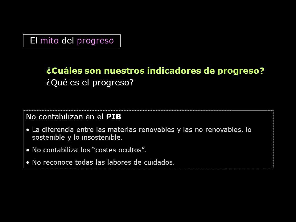 El mito del progreso ¿Cuáles son nuestros indicadores de progreso? ¿Qué es el progreso? No contabilizan en el PIB La diferencia entre las materias ren