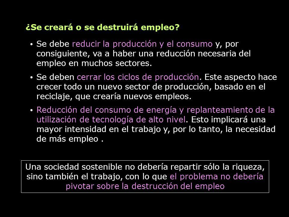 Se debe reducir la producción y el consumo y, por consiguiente, va a haber una reducción necesaria del empleo en muchos sectores. Se deben cerrar los