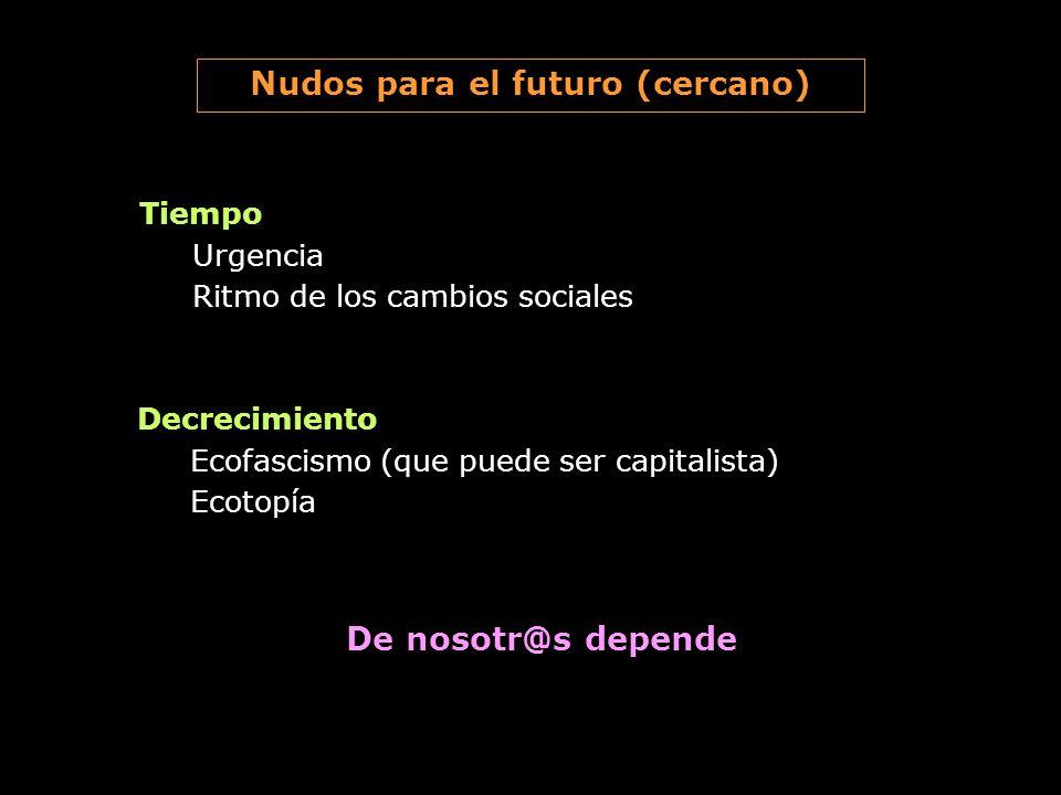 Tiempo Urgencia Ritmo de los cambios sociales Nudos para el futuro (cercano) Decrecimiento Ecofascismo (que puede ser capitalista) Ecotopía De nosotr@