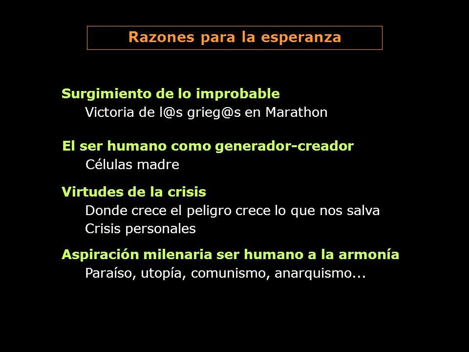 Surgimiento de lo improbable Victoria de l@s grieg@s en Marathon Razones para la esperanza El ser humano como generador-creador Células madre Virtudes