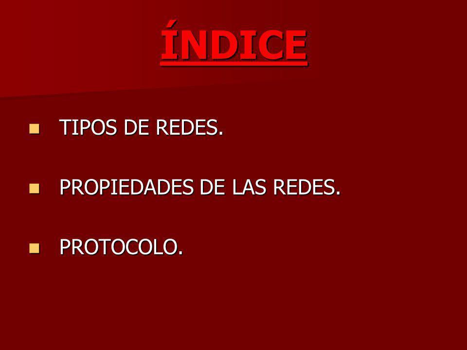 ÍNDICE TIPOS DE REDES. TIPOS DE REDES. PROPIEDADES DE LAS REDES. PROPIEDADES DE LAS REDES. PROTOCOLO. PROTOCOLO.