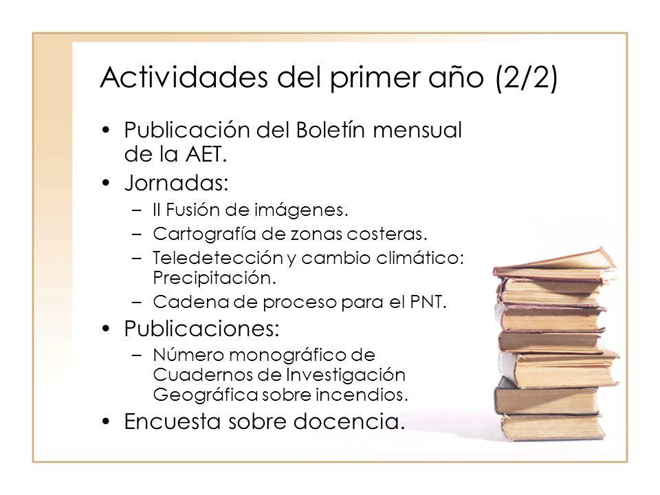Actividades del primer año (2/2) Publicación del Boletín mensual de la AET.
