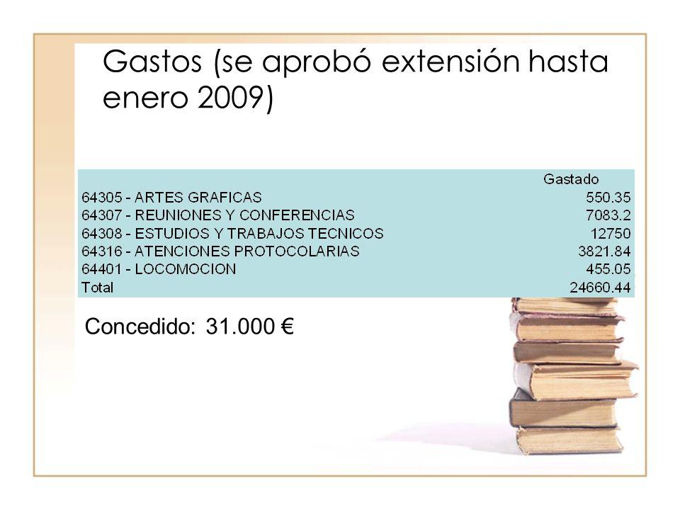 Gastos (se aprobó extensión hasta enero 2009) Concedido: 31.000