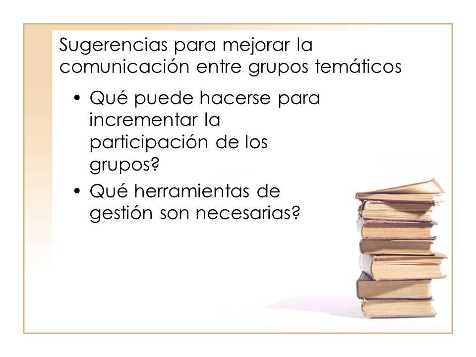 Sugerencias para mejorar la comunicación entre grupos temáticos Qué puede hacerse para incrementar la participación de los grupos.