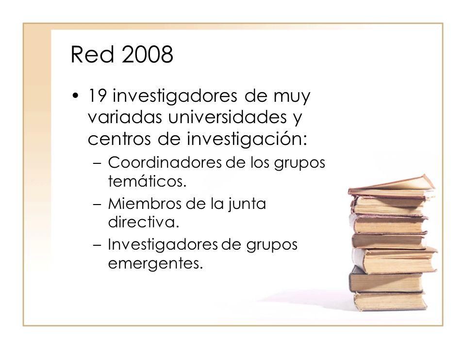Red 2008 19 investigadores de muy variadas universidades y centros de investigación: –Coordinadores de los grupos temáticos.