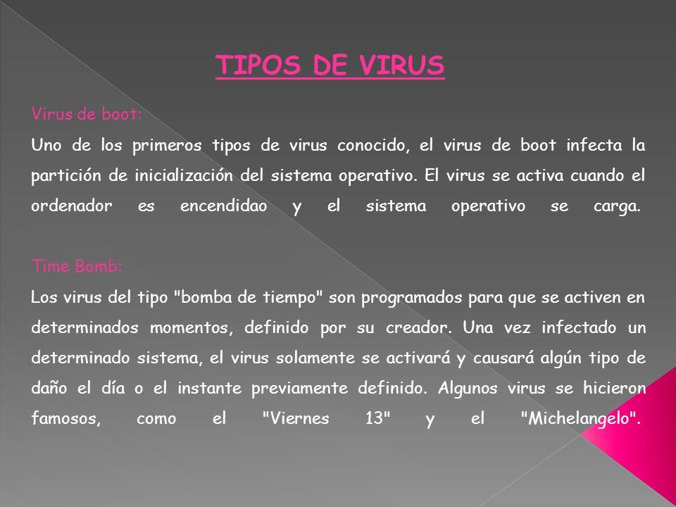 Troyanos o caballos de Troya: Ciertos virus traen en su interior un código aparte, que le permite a una persona acceder al ordenador infectado o recolectar datos y enviarlos por Internet a un desconocido, sin que el usuario se de cuenta de esto.