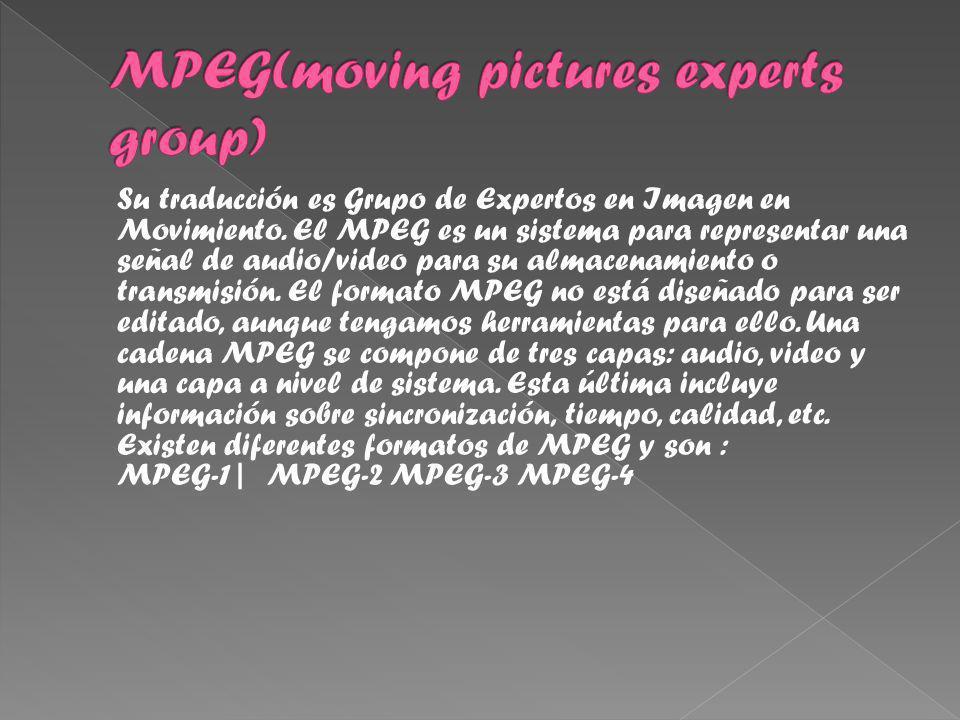 Su traducción es Grupo de Expertos en Imagen en Movimiento.