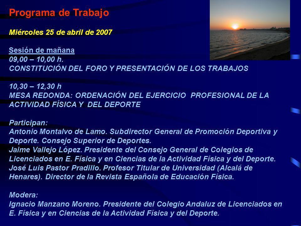 Programa de Trabajo Miércoles 25 de abril de 2007 Sesión de mañana 09,00 – 10,00 h. CONSTITUCIÓN DEL FORO Y PRESENTACIÓN DE LOS TRABAJOS 10,30 – 12,30