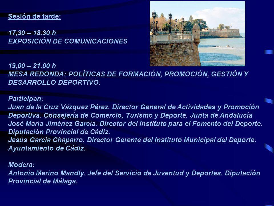 Viernes 27 de abril de 2007 Sesión de mañana: 09,00 – 13,00 h VISITAS GUIADAS A : Complejo Deportivo Bahía de Cádiz Instalaciones del Centro Náutico Juan Sebastián Elcano Complejo Deportivo Bahía Sur Escuela de Especialistas en Medicina de la Educación Física y el Deporte y Centro de Medicina del Deporte.