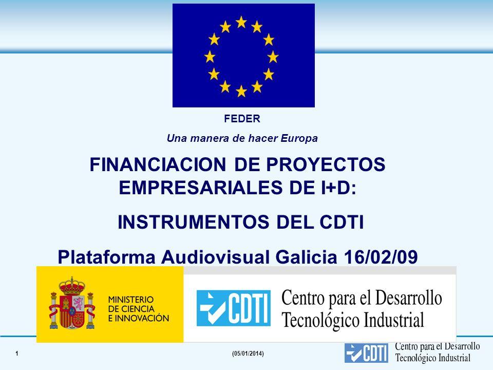 1(05/01/2014) FINANCIACION DE PROYECTOS EMPRESARIALES DE I+D: INSTRUMENTOS DEL CDTI Plataforma Audiovisual Galicia 16/02/09 FEDER Una manera de hacer