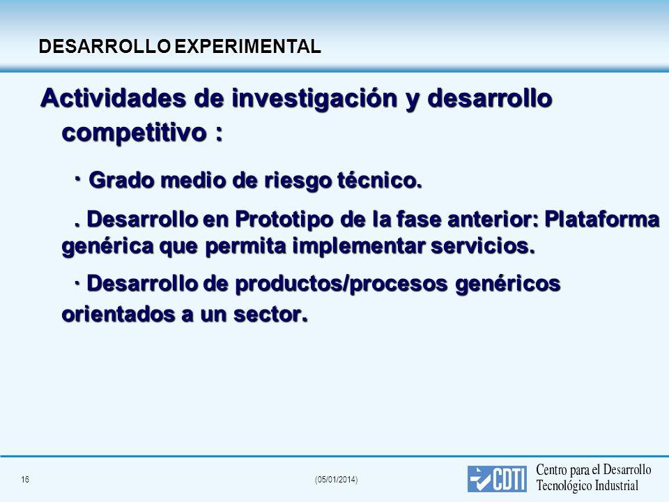 16(05/01/2014) DESARROLLO EXPERIMENTAL DESARROLLO EXPERIMENTAL Actividades de investigación y desarrollo competitivo : · Grado medio de riesgo técnico