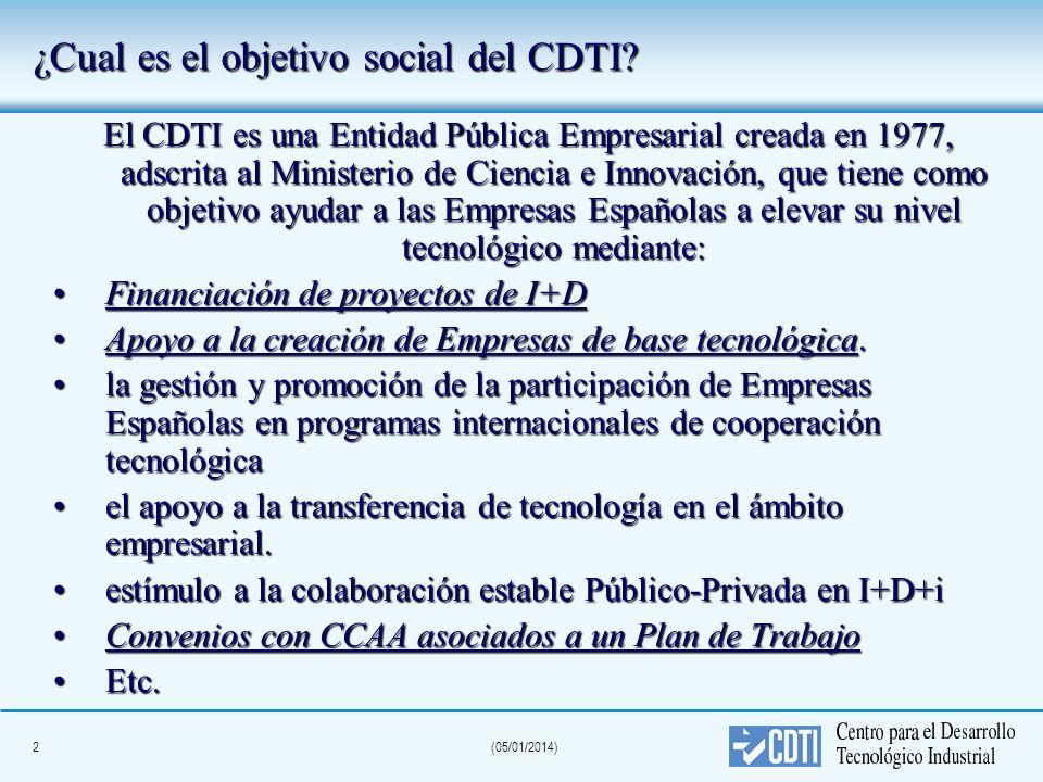 2(05/01/2014) El CDTI es una Entidad Pública Empresarial creada en 1977, adscrita al Ministerio de Ciencia e Innovación, que tiene como objetivo ayuda