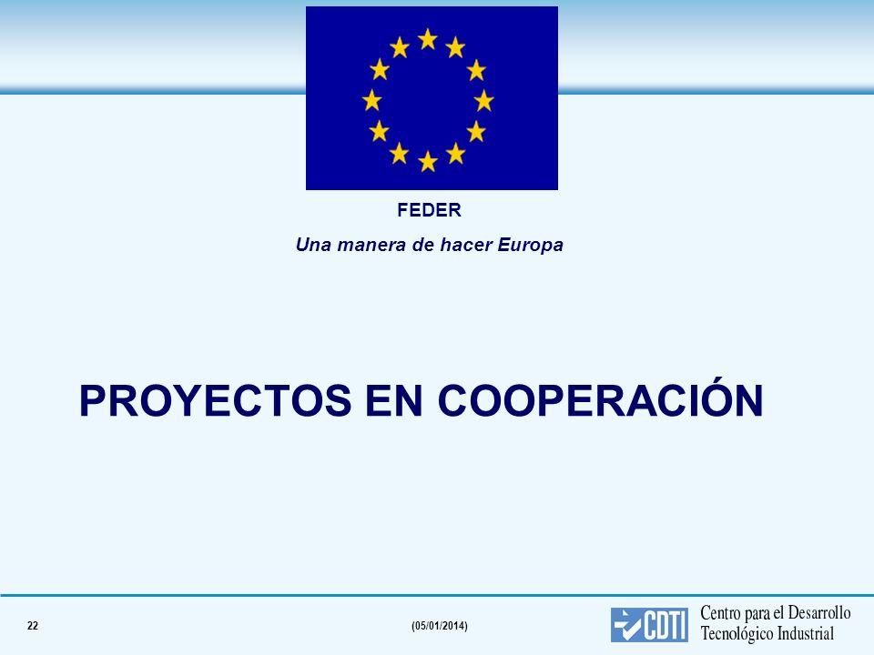 22(05/01/2014) PROYECTOS EN COOPERACIÓN FEDER Una manera de hacer Europa