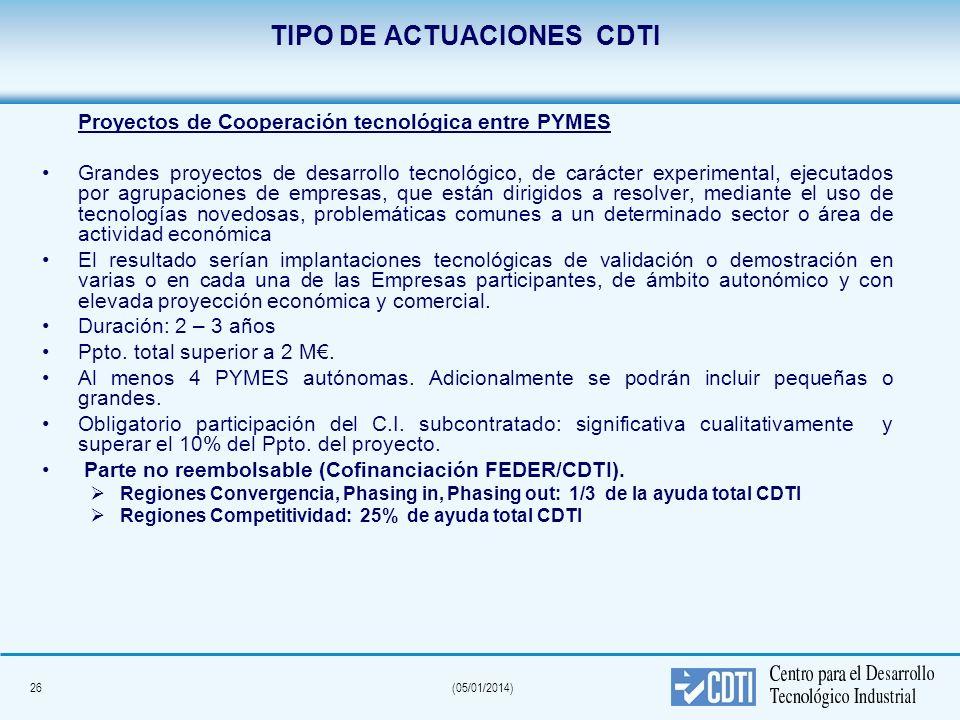 26(05/01/2014) TIPO DE ACTUACIONES CDTI Proyectos de Cooperación tecnológica entre PYMES Grandes proyectos de desarrollo tecnológico, de carácter expe