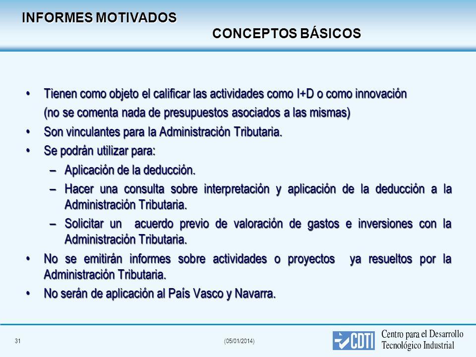 31(05/01/2014) INFORMES MOTIVADOS CONCEPTOS BÁSICOS Tienen como objeto el calificar las actividades como I+D o como innovaciónTienen como objeto el ca