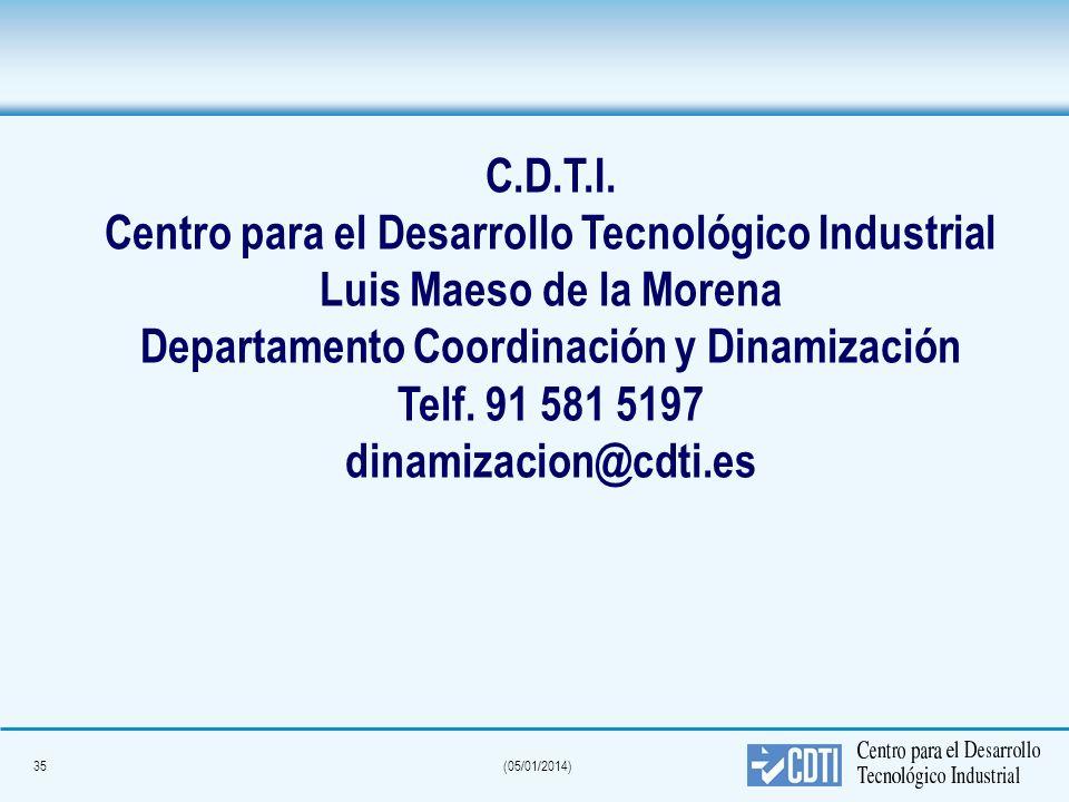 35(05/01/2014) C.D.T.I. Centro para el Desarrollo Tecnológico Industrial Luis Maeso de la Morena Departamento Coordinación y Dinamización Telf. 91 581