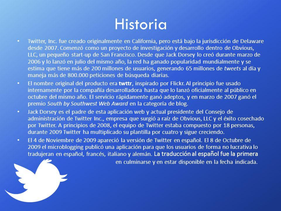Twitter, Inc. fue creado originalmente en California, pero está bajo la jurisdicción de Delaware desde 2007. Comenzó como un proyecto de investigación