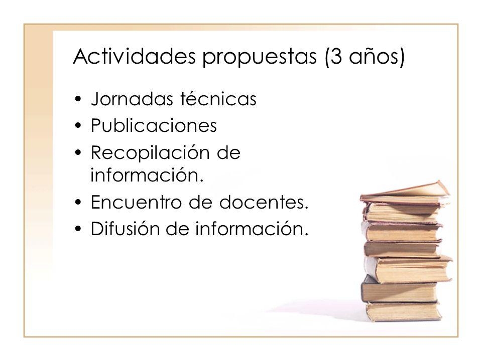 Actividades propuestas (3 años) Jornadas técnicas Publicaciones Recopilación de información.