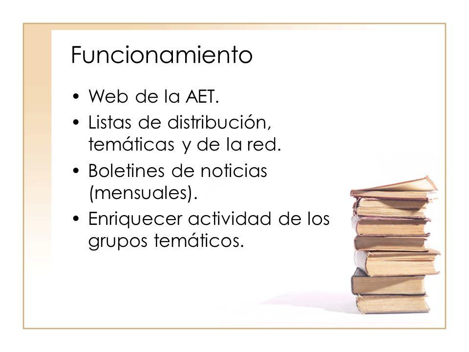 Funcionamiento Web de la AET.Listas de distribución, temáticas y de la red.